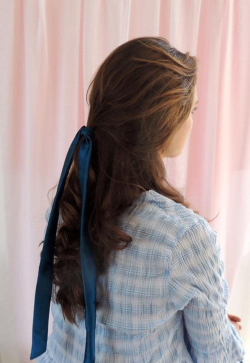 Sapphire Teal Silk Tess Hair Ribbon