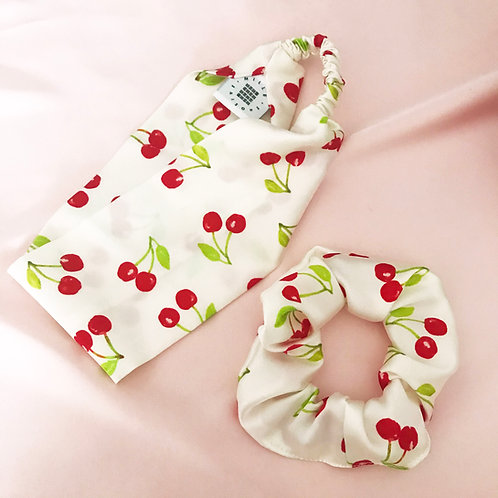 Summer Cherry Scrunchie and Headband Set