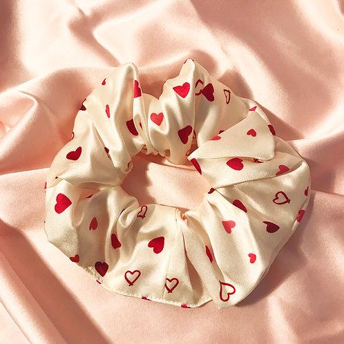 Heart Print Silk Super Scrunchie