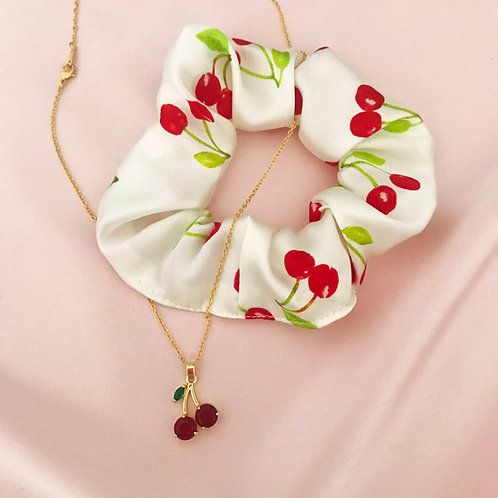 Summer Cherry Silk Scrunchie and Necklace Set