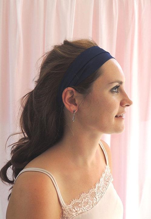 French Navy Silk Anya Headband