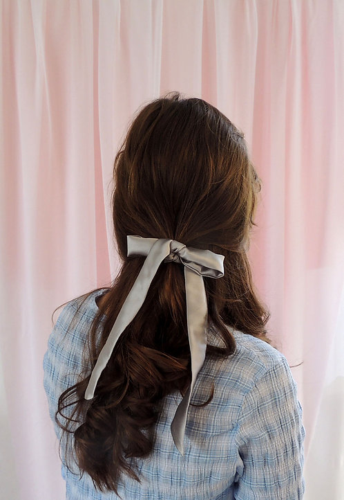 Pale Grey Silk Tess Hair RIbbon