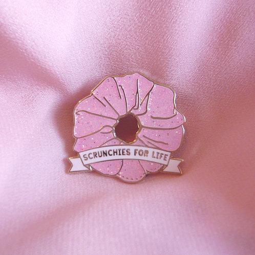 Pink Enamel Scrunchie Pin