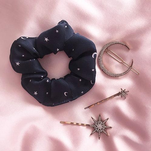 Navy Star Print Scrunchie and Lyra Star Grips Set
