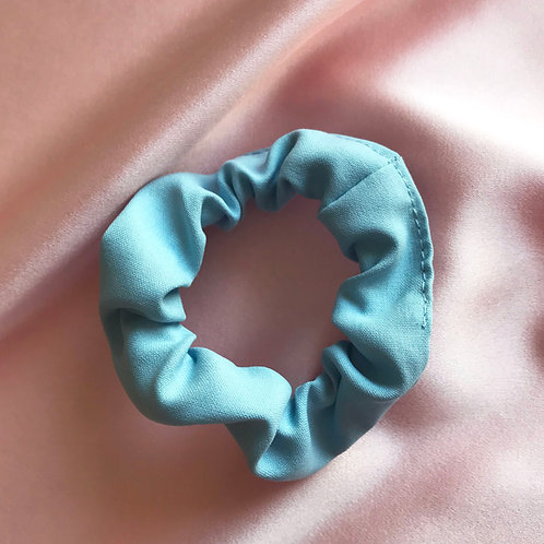 Blue Sandwashed Spun Silk Mini Astrid Scrunchie