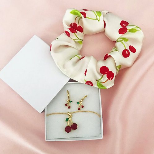Summer Cherry Silk Scrunchie, Necklace and Earrings Set