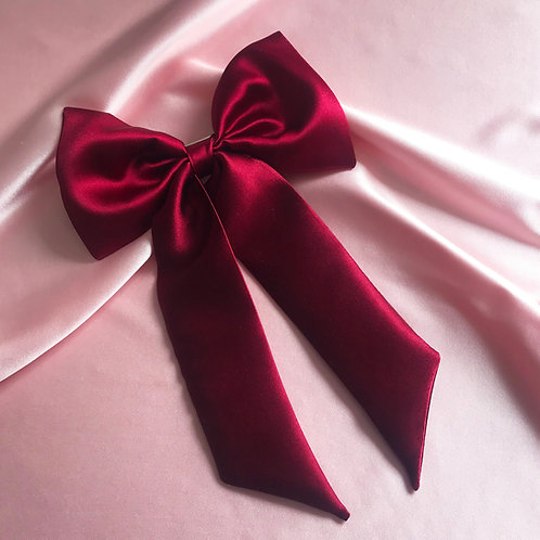 Burgundy Silk Euphrasie Hair Bow