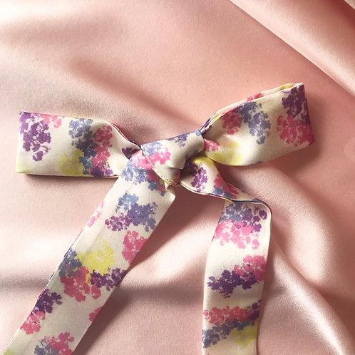Floral Print Silk Tess Hair Ribbon