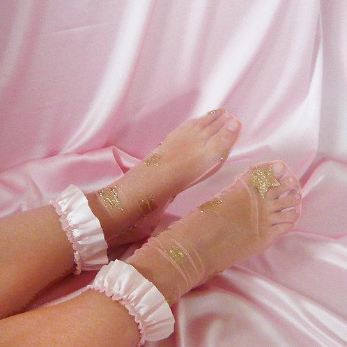 Pink Silk Ruffle Tulle Socks