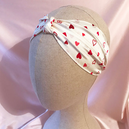 Heart Print Silk Knot Headband
