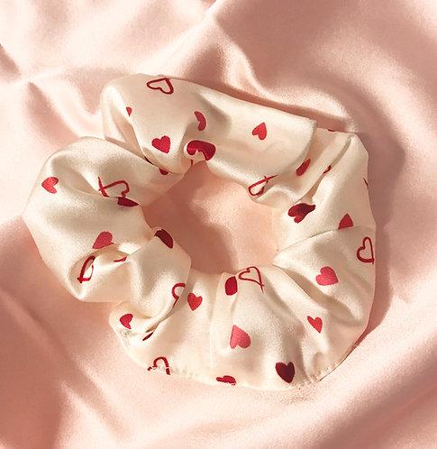 Heart Print Silk Astrid Scrunchie