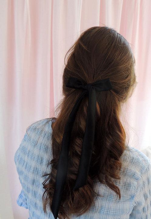 Onyx Silk Tess Hair Ribbon