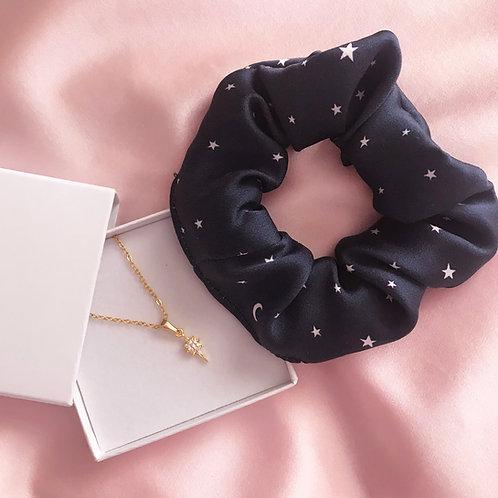 Navy Star Silk Scrunchie and Necklace Set