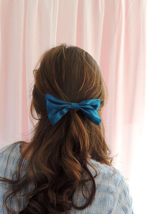 Sapphire Teal Silk Lily Hair Bow