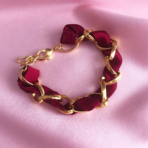Burgundy Silk Woven Chain Marguerite Bracelet