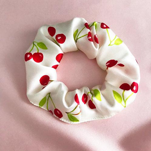 Summer Cherry Print Silk Astrid Scrunchie