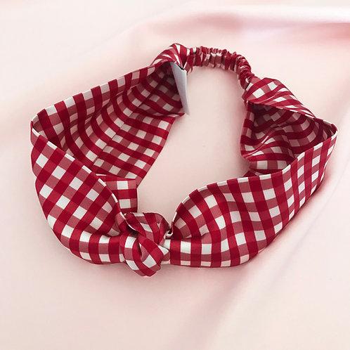 Red Gingham Silk Knot Headband