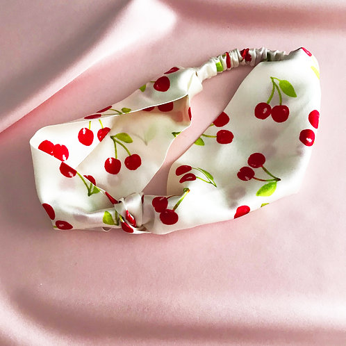 Summer Cherry Silk Knot Headband