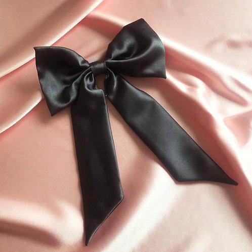 Dark Grey Silk Euphrasie Hair Bow