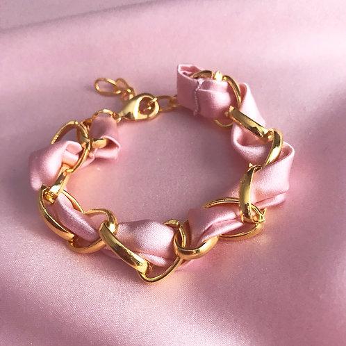 Oyster Pink Silk Woven Chain Marguerite Bracelet