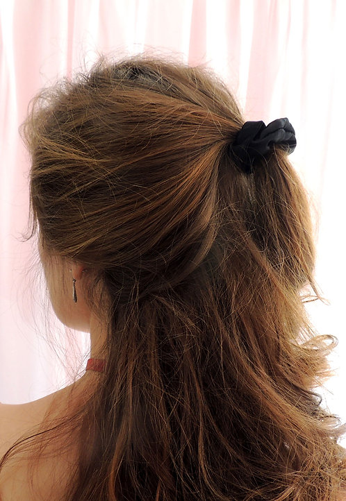 Onyx Silk Mini Astrid Scrunchie