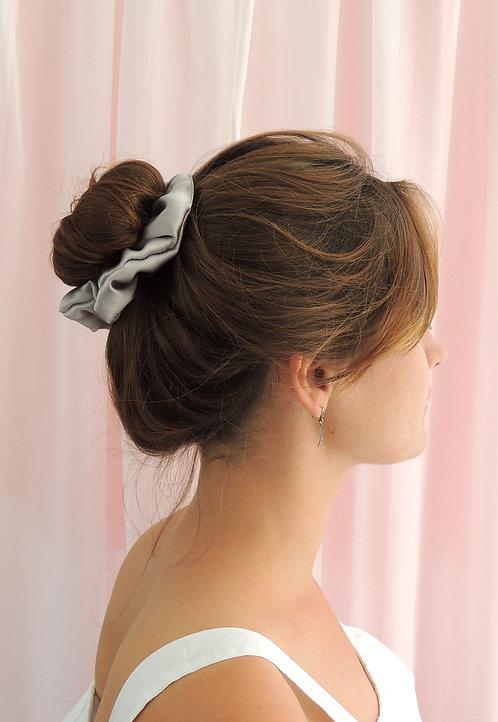 Pale Grey Silk Astrid Scrunchie