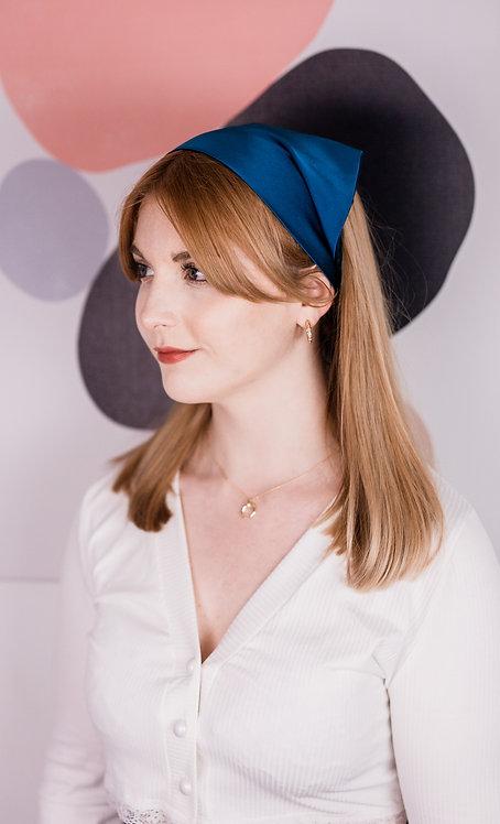 Sapphire Teal Silk Audrey Headscarf