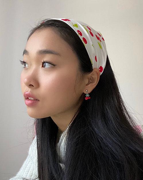 Cherry Print Silk Audrey Headscarf