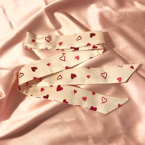 Heart Print Silk Tess Hair Ribbon