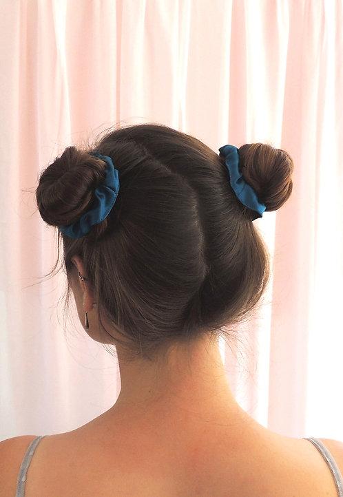 Sapphire Teal Silk Mini Astrid Scrunchie