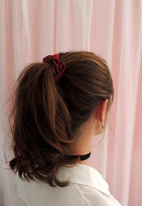 Burgundy Red Silk Astrid Scrunchie