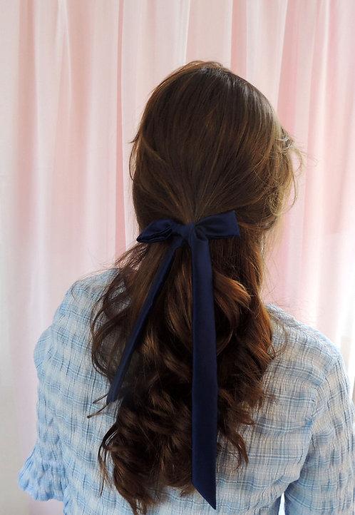 French Navy Silk Tess Hair Ribbon