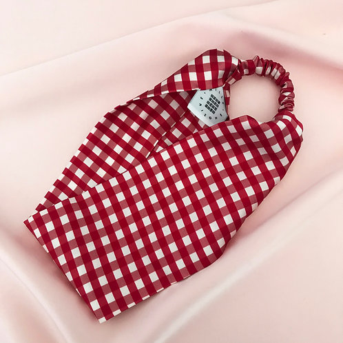 Red Gingham Print Silk Anya Headband