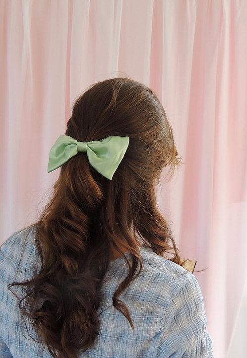 Mint Silk Lily Hair Bow