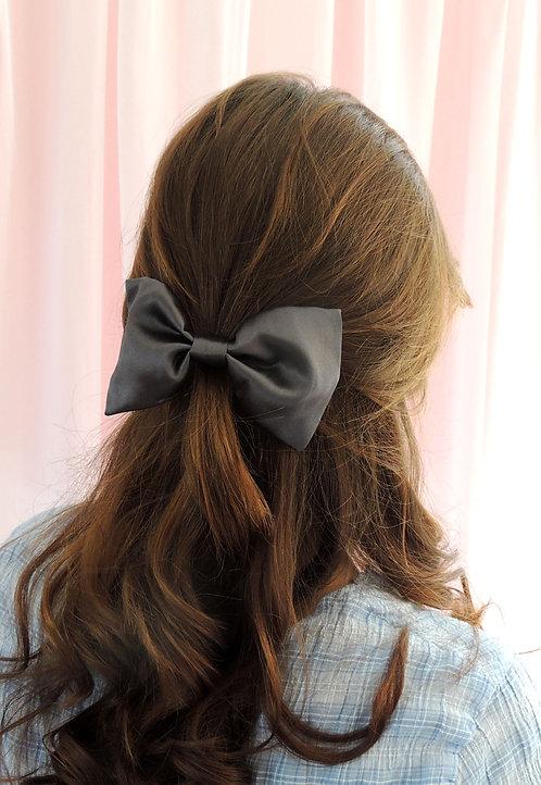Dark Grey Silk Lily Hair Bow