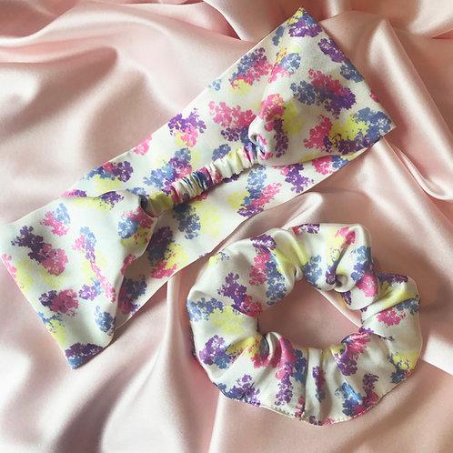 Floral Print Scrunchie and Headband Set