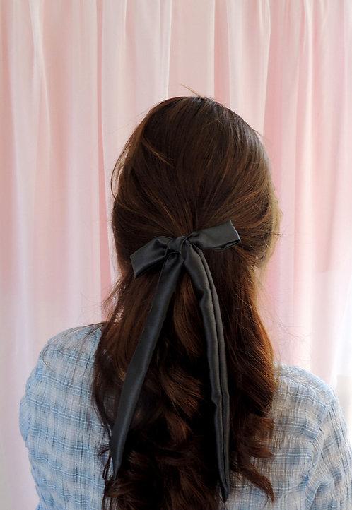 Dark Grey Silk Tess Hair Ribbon
