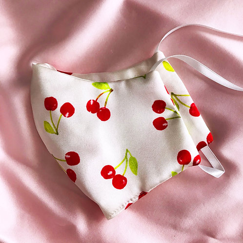 Cherry Print Silk Face Mask