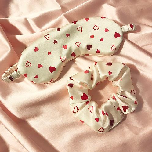 Heart Print Silk Sleep Set