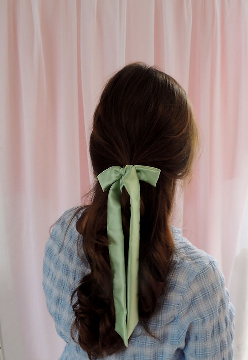 Mint Silk Tess Hair Ribbon