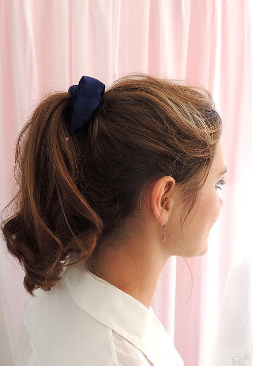 French Navy Silk Astrid Scrunchie