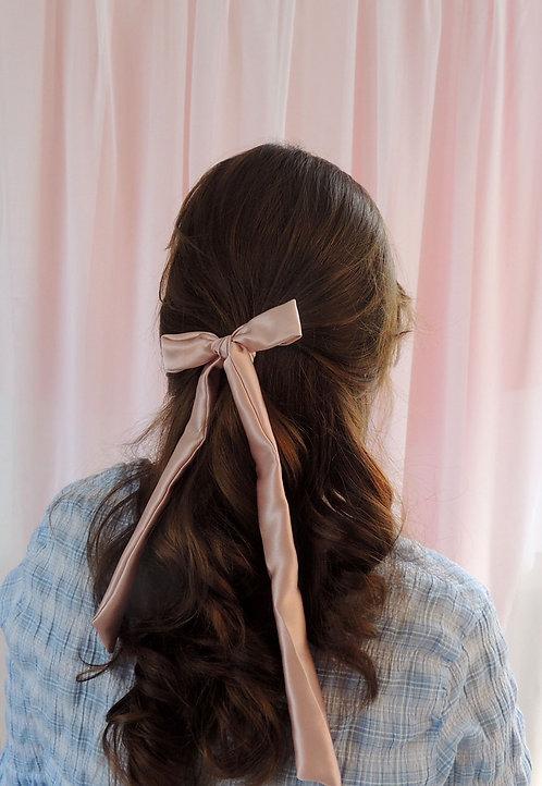 Oyster Pink Silk Tess Hair Ribbon