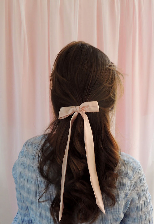 Shell Pink Silk Tess Hair Ribbon