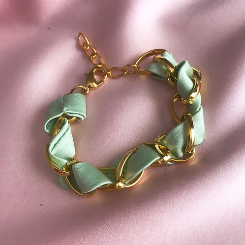 Mint Silk Woven Chain Marguerite Bracelet