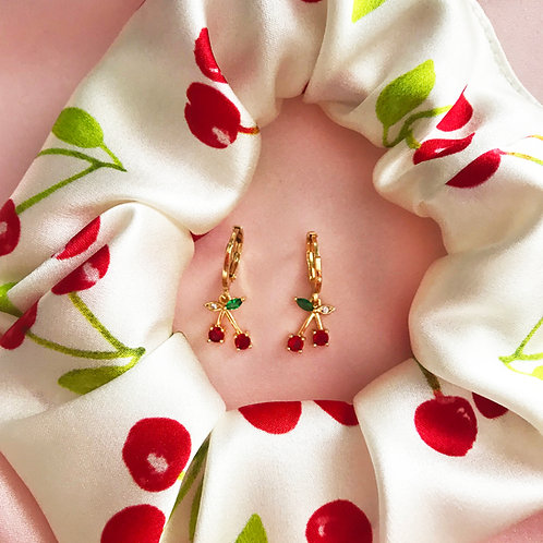 Summer Cherry Scrunchie and Earrings Set