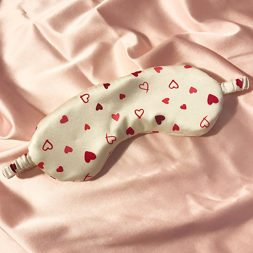 Heart Print Silk Beth Eye Mask