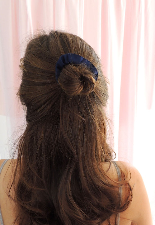 French Navy Silk Mini Astrid Scrunchie