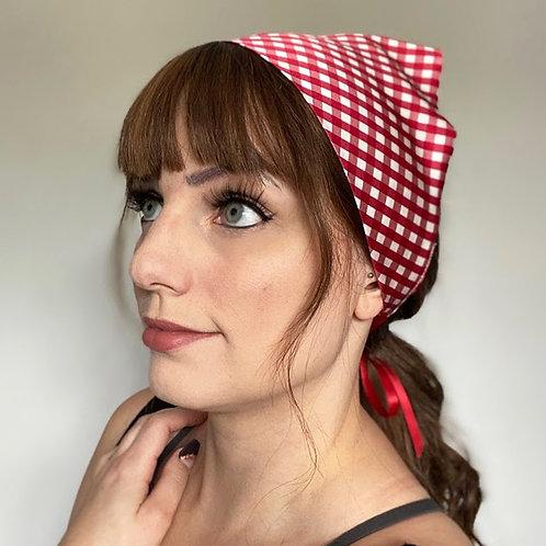 Gingham Print Silk Audrey Headscarf