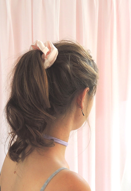 Shell Pink Silk Astrid Scrunchie