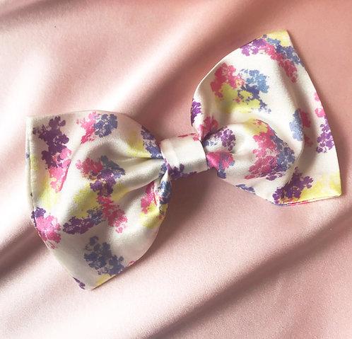 Floral Print Silk Lily Hair Bow